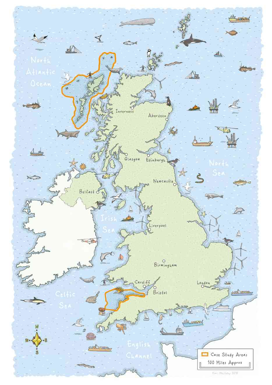 UK map showing North Dvon and Outer Hebrides Marine Protected Areas